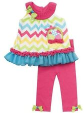 Rare Editions Girl Easter  Chevron Eggs Basket Dress Legging set 12 18 24 Months