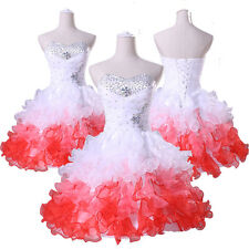 2014 Glam White & Red Formal Prom Dresses Graduation Party Short Evening Dress 1