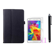 Folio Leather Stand Case Cover+1x LCD+Stylus Pen F Samsung Galaxy Tab4 7.0 T230