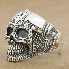 925 Sterling Silver Gothic Tattoo Skull Mens Biker Rocker Ring 9G005B