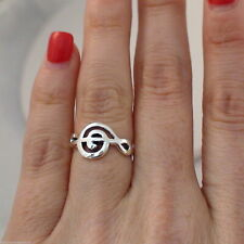 Sideways Treble Clef Ring - 925 Sterling Silver - Music Note Ring Treble Clef