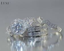 Rare,His and Her Wedding Engagement set of 3 Made in Italy 22KT Fine Silver