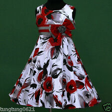 UsaG w028 y2 Summer Holiday Grey Black Red White Birthday Party Girl Dress 2-12y