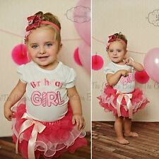 2pcs toddler Girls Baby T-shirt+Cake skirt Outfit Clothes Tutu Birthday dress