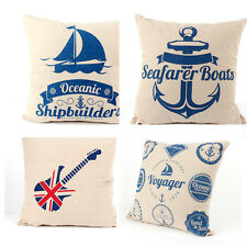 Retro Sailboat Flag Decorative Cotton Pillow Case Cover Cushion Throw Pillowcase