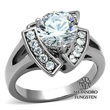 Women's Ring Wedding 4Ct Round Cut CZ Stainless Steel Engagement Size 5 to 10