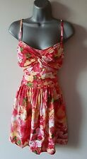 BNWT New LIPSY Pink Poppy Garden Floral Knot Front Summer Dress size 8 or 16
