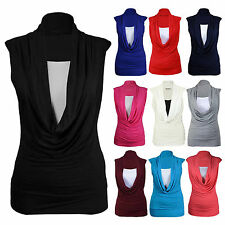 NEW LADIES LONG TOP COWL SCOOP NECK STRTECH CONTRAST INSERT VEST TOP SIZE SM/ML