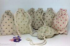 Small Cute Cotton/Linen Drawstring Gift Bags Pouch Party Bag Polka Dots  #18