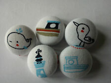 Nautical Cute Boats Fish WhaleAnchor Duck Lighthouse Buttons x5 handmade fabric