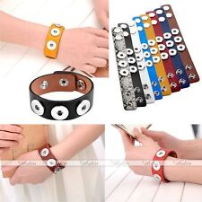 PU Leather Bracelet Cuff Fits 3 Chunk Button Fastener Snap on Charms