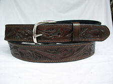 "Belt Brown Floral 2 Ply Lined 1.5"" Heavy Duty Leather Gun Carry Holster"