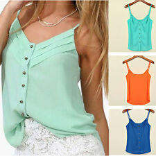 Women's Blouse Candy Color Shirts Sexy Chiffon Blouse Spagetti Strap Vest Tops