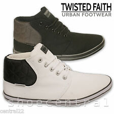 Men's Twisted Faith Hi Tops Designer Pumps Plimsolls High Trainers Boots Black K