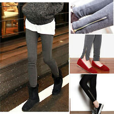 Womens Winter Warm Thick Inside Wool Render Zipper Legging Pants Tights Trousers