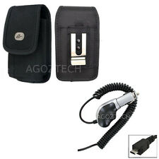 Heavy Duty Car Charger + Vertical Nylon Canvas Case Pouch for HTC Cell Phones