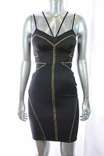 NEW bebe women STUDS adjustable straps BODYCON sexy TIGHT mini DRESS black XS-L