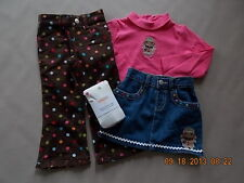 NWT Girl's Gymboree Winter Cheer shirt pants skirt tights outfit ~ 3-6 months 2T