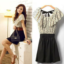 Korean Women Chiffon Short Sleeve Dots Polka Waist Mini Dress