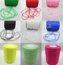 New 50m 13Colors Satin Edge Sheer Organza Ribbon Bow Craft many color pick 9mm