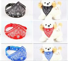 New Dog Bandanna Scarf with Leather Collar Paisley Pattern Pet Fashion Accessory