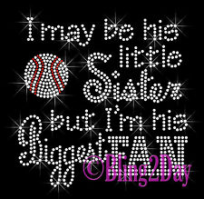 Baseball Fan -HIS Little Sister- Iron on Rhinestone Transfer Hot Fix Bling Sport