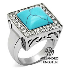 Men's Ring Turquoise Princess Cut Stainless Steel Silver Ring Size 8 to 13