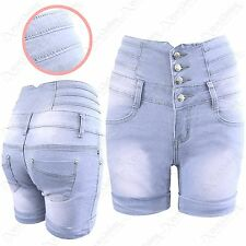 LADIES LIGHT BLUE WASH HIGH WAISTED DENIM SHORTS WOMENS JEANS STRETCH HOT PANTS