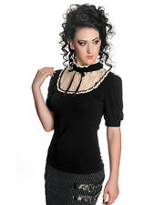 Spin Doctor Iona Black Cream Lace Steampunk Goth Lolita Short Sleeve T Shirt Top