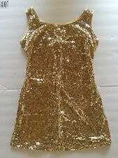 New Gia-Mia G175 Adult Gold Sequin Dress Dance Wear Excellent Quality