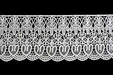 "Unotrim 4"" Ivory and White Floral Venice Vintage Guipure Lace Trim By Yardage"