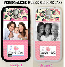 PHOTO CORAL PINK CHEVRON ROSE CUSTOM MONOGRAM CASE FOR SAMSUNG GALAXY S7 NOTE 5