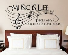 Music Is Life That's Why Our Hearts Have Beats Vinyl Wall Sticker, Decor Decal
