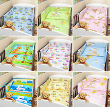 3 pc piece BABY BEDDING SET COT QUILT DUVET PILLOW CASE COVER BUMPER - STRAIGHT