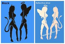 Angel and Devil Sexy Girls Car Truck PET Reflective Sticker Decal Black/Silver