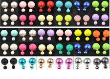 HOT Selling Celebrity Runway Double Pearl Bead Plug Earrings Ear Stud 1 Pair NEW