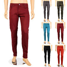 Victorious Mens Skinny Jeans Stretch Denim Pants Solid Colors Pencil Taper Fit