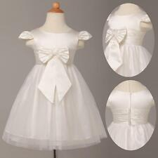 Flower Girl's Toddlers Kids Bowtie Formal Wedding Gown Prom Ball Dress Age 2-12Y