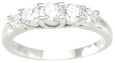 .5 CARAT .925 STERLING SILVER 5 STONE GRADUATED ROUND RING BAND SIZE 5 6 7 8 9