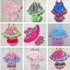 Baby kid girls Outfit Chevron Stripe Damask skirt dress+pant Costume Set Clothes