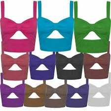 New Ladies Cut Out Bralet Summer Mini Vest Beach Wear Tops 4-10
