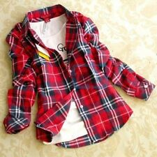 Women Button Down Casual Lapel Shirt Plaids Checks Flannel Shirt Top Blouse US x