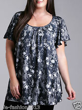 Marina Kaneva Woman New Plus Size Angel Sleeve Top in Monochrome Floral Print