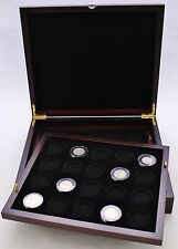 Wood Coin Display Case, Two Trays, Mahogany in Color, Coin Capsules A, T, H, I