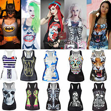 Women's Digital Print Tank Top Blouse Gothic Punk Clubwear Sleeveles Summer Tees