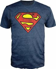DC Comics Superman Distressed Logo Shield Men's T-Shirt - Heather Blue