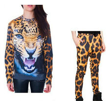 Tiger Head Fashion Woman Hedging top Leopard Print Long Sleeved Sport Suit Pants