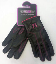 Womens Pink & Black Leather - Motorcycle Gloves - Butterfly - Lined for Bikers