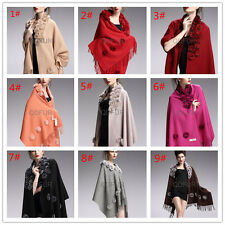 High Quality 100% Cashmere Wool Shawl With Rex Rabbit Fur Collar Scarf Cape Wrap