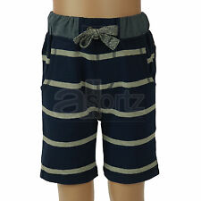 Boys ex Next Navy & Grey Stripe Cotton Rich Jersey Summer Shorts Casual New Kids